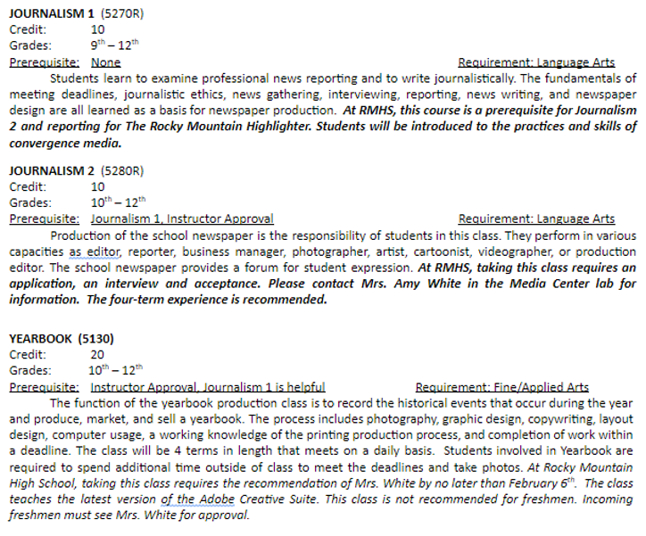 Description of Journalism 1 and 2 and Yearbook classes